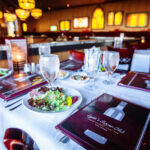 restaurant photography zoom in shot of lydias menu and table setting in butte montana