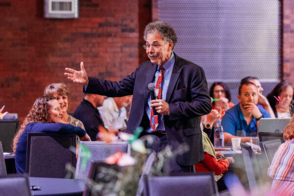 event photography of keynote speaker at safe schools summit in butte montana